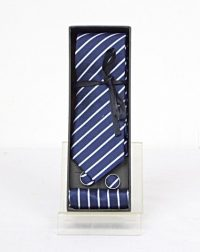 Blue and White Stripe Tie and Cuff Link Set