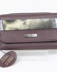 Brown Genuine Leather RFID Scan Proof Purse