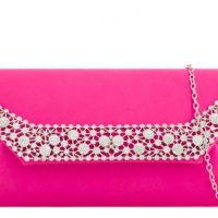 Fuschia Pink Diamante Clutch