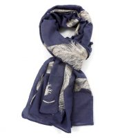 Navy Giant Gold Feather Scarf