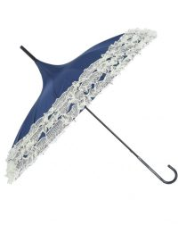Navy Pagodal Parasol Brolly with Cream Lace