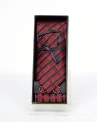 Red and Black Tie, Cufflinks and Hankie Set