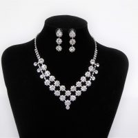 Silver Diamante Necklace and Earring Set