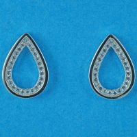 925 Silver Clear CZ Teardrop Stud Earrings