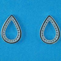 925 Silver Clear CZ Teardrop Stud Earrings