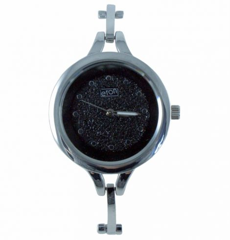 Ladies Eaton Black Face with Silver Bracelet Watch