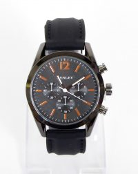 Henley Black Round Face with Black Silicon Strap Watch
