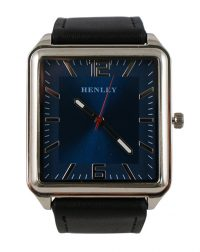 Henley Silver Square Blue Face with Black Strap Watch