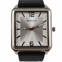 Henley Silver Square Face with Black Strap Watch