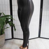 Black Shiny PVC Lattice Leggings