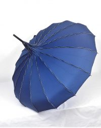 Navy Blue Pagoda Parasol Waterproof Brolly
