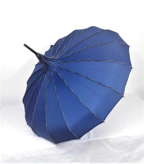 Navy Blue Pagoda Parasol Waterproof Brolly