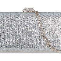 Silver Glitter Textured Clutch Bag