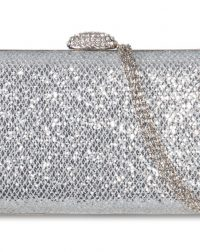 Silver Glitter Textured Clutch Bag