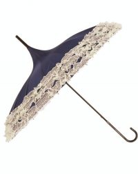 Black Pagoda Parasol Brolly with Cream Lace