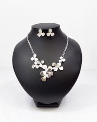 Silver Frosted and Grey Necklace and Earring Set