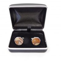 Silver and Sandstone Cuff Links