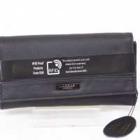 Black Grained Genuine Leather RFID Scan Proof Purse