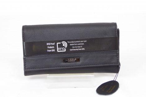 Black Grained Genuine Leather RFID Scan Proof Purse