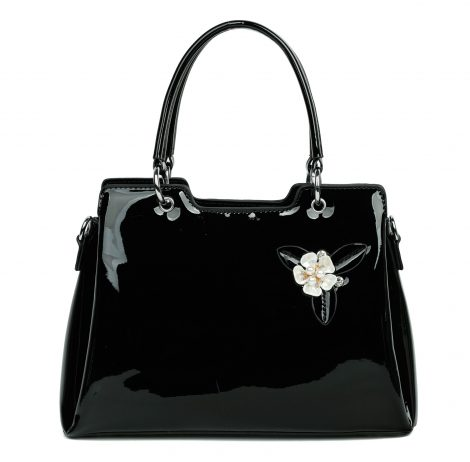 Black Patent Pearl Handbag