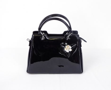 Black Patent with Pearl Flower Handbag