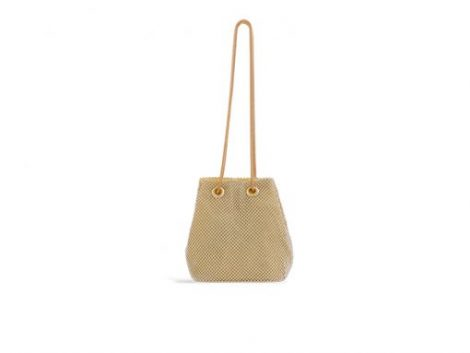 Gold Diamante Rouched Clutch Bag
