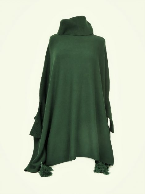 Green Polo Tassel Poncho Jumper