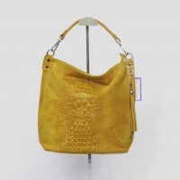 Mustard Italian Suede Mock Crock Slough Bag