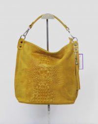 Mustard Italian Suede Mock Crock Slough Bag