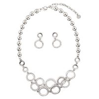 Silver Diamante Circles Necklace and Earring Set