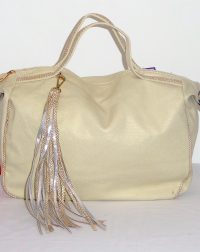 Beige Metallic Everyday Handbag
