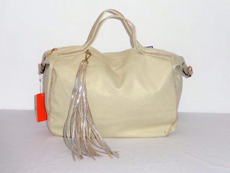 Beige Metallic Everyday Handbag