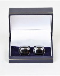 Black and Silver Oval Cuff Links