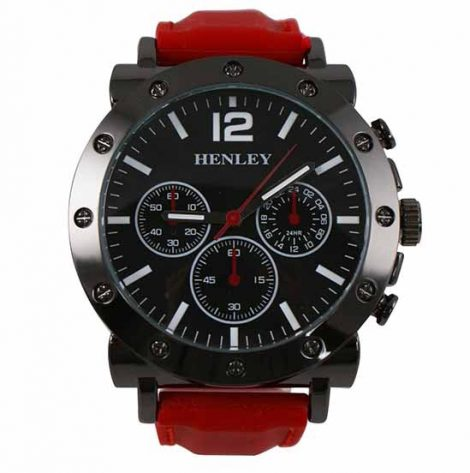 Gents Henley Red Silicon Watch