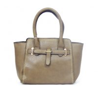 Taupe Grained Leather Look Handbag