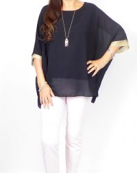 Black Chiffon with Gold Thread Cuff Top.