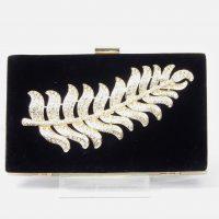 Black Velvet Diamante Feather Clutch