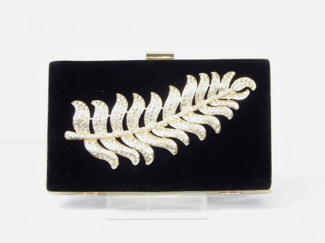 Black Velvet Diamante Feather Clutch