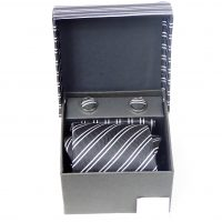 Black and White Stripe Tie Cuff Link and Hankie Set