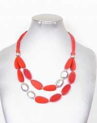 Red,Silver Wood Necklace