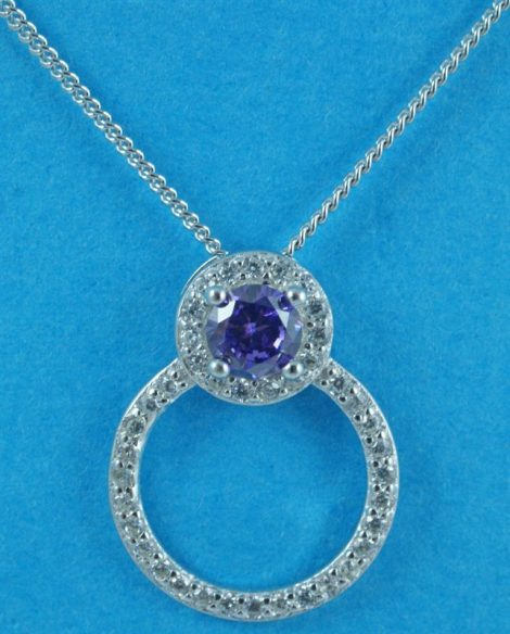 Silver Clear and Amethyst CZ Pendant