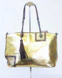 Gold Metallic Tassel Handbag