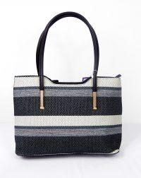 Black Stripe Woven Handbag