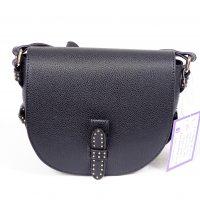 Black Leather Look Studded Shoulder Bag