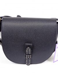 Black Leather Look Studded Shoulder Bag