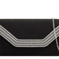 Black Suedette Diamante Clutch