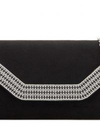 Black Suedette Diamante Clutch