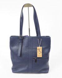 Navy Genuine Italian Leather Shopper Style Handbag