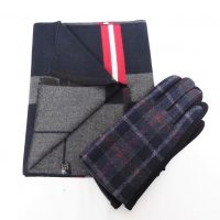 Black Check Scarf Set