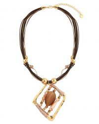 Brown Cord Beaded Necklacej